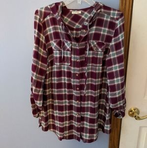 Hooded plaid button down tunic